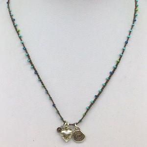 Brighton Glass Blue Beaded Brown Heart Necklace